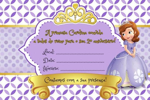 Convite A Princesa Sofia Sem Envelope No Elo7