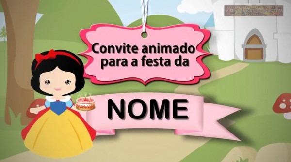 Convite Animado Branca De Neve Baby   Branca De Neve Cute No Elo7