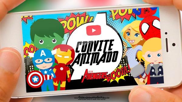 Convite Animado Vingadores Cute Grátis Pronto Para Baixar