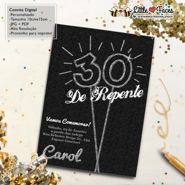 Convite Aniversário 30 Anos Glow Digital No Elo7
