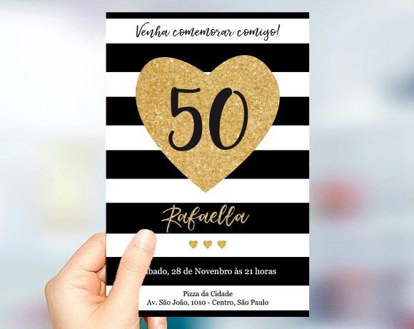 Convite Aniversário 50 Anos Dourado Listras
