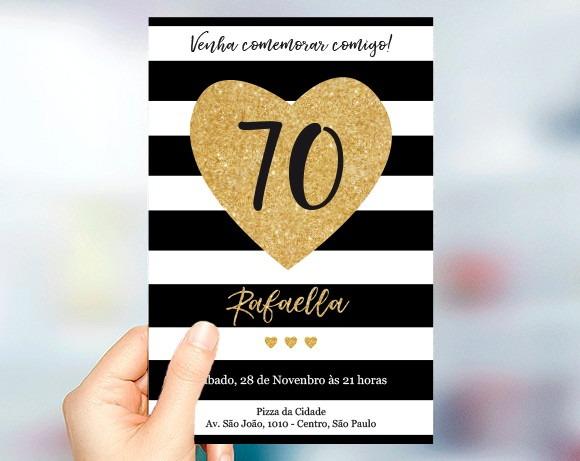 Convite Aniversário 70 Anos Dourado Listras