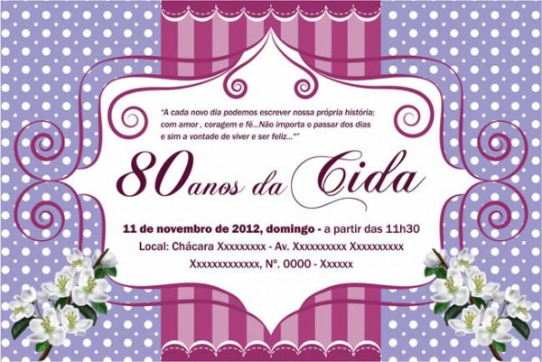 Convite Aniversario 80 Anos Feminino 1 » Happy Birthday World