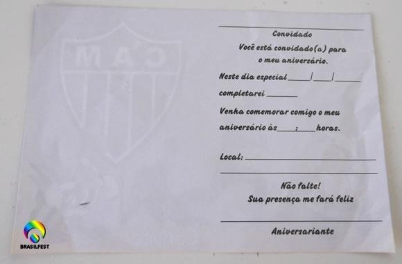 Convite Aniversario Atletico Mineiro (10 Convites)