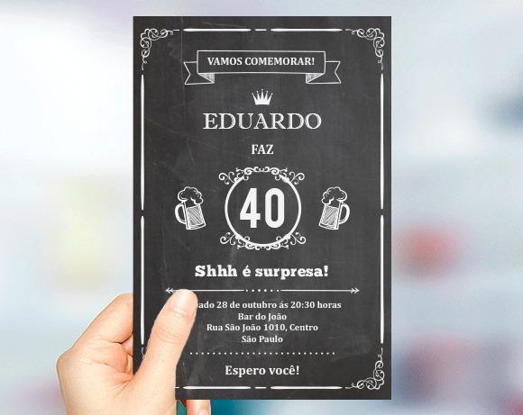 Convite Aniversário Chalkboard 20 30 40 50 60 Anos