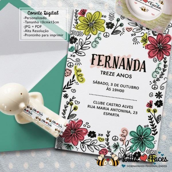 Convite Aniversário Floral Doodle No Elo7