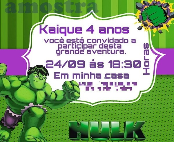 Convite Aniversario Hulk No Elo7