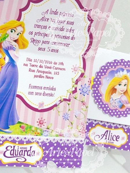 Convite Aniversário Rapunzel Enrolados 10 Unidades