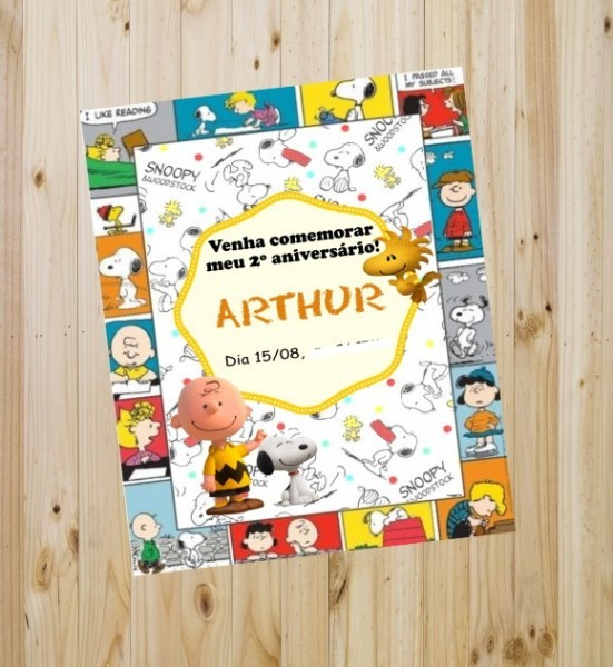 Convite Aniversário Snoopy  No Elo7