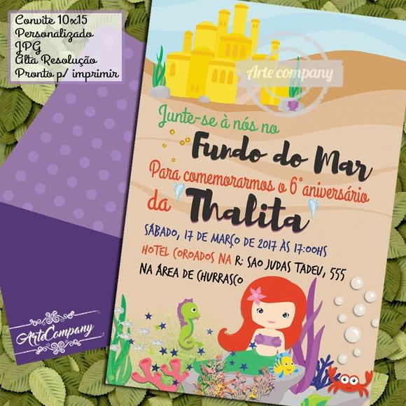 Convite Festa Aniversário Ariel Fundo Do Mar No Elo7