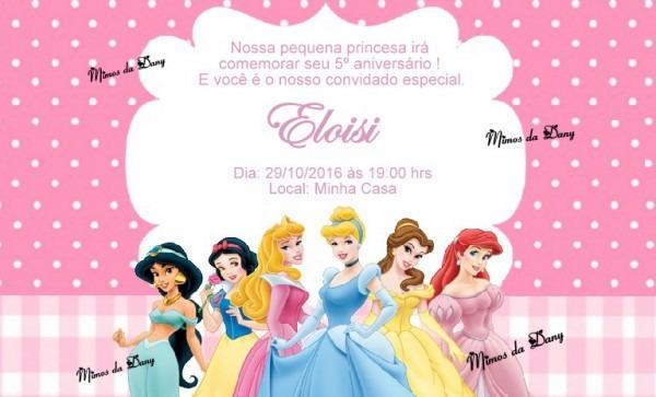 Convite As Princesas No Elo7