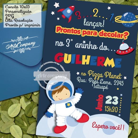 Convite Festa Aniversário Astronauta Espaço No Elo7