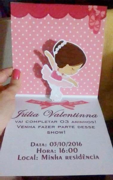 Convite Bailarina Personalizado Articulado 10 Unidades