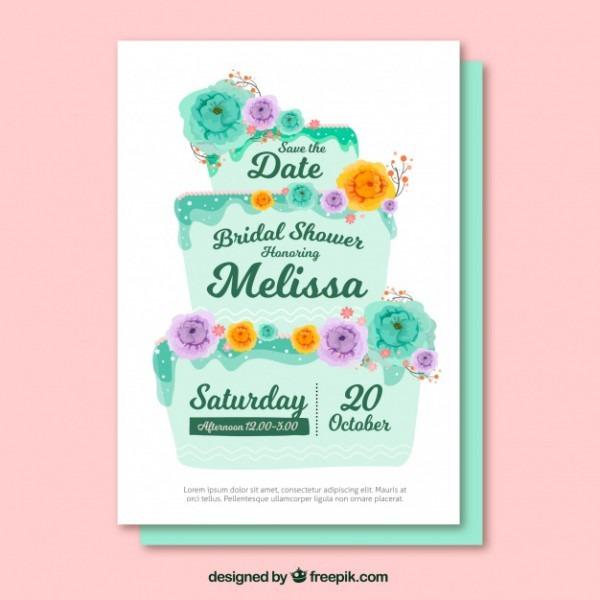 Convite Bonito De Despedida Com Bolo De Casamento E Flores
