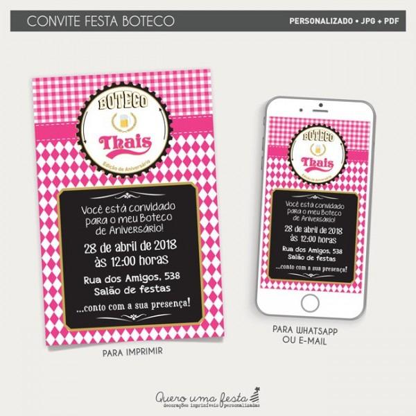 Convite Boteco Pink