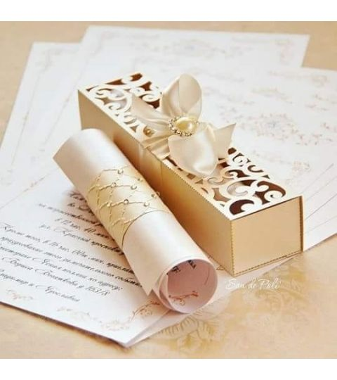 Molde Silhouette Caixa Convite De Casamento Vazada Premium