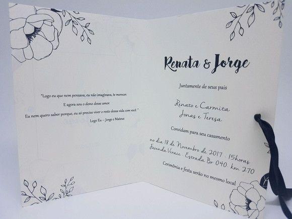 Convite Casamento Floral Preto E Branco