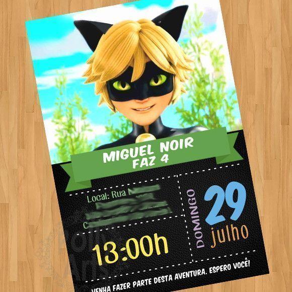 Convite Cat Noir Miraculous Arte Digital Virtual