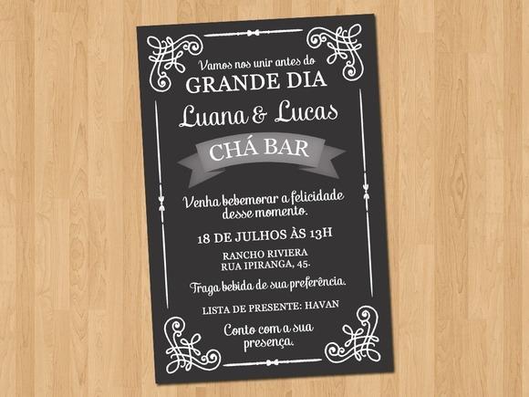 Convites De Casamento Tema Bar