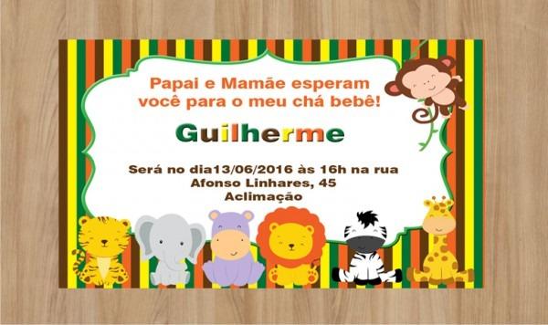 Convite Chá De Bebê Safari 10x7cm No Elo7