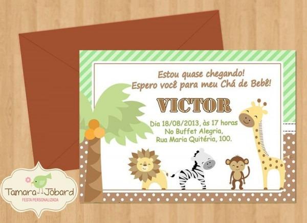 Convite De Chá De Bebê Tema Safari – Modelos De Convite