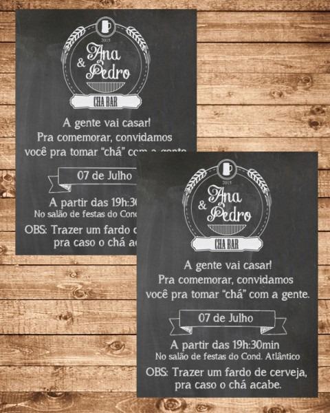 Digital  Convite Chá Bar No Elo7