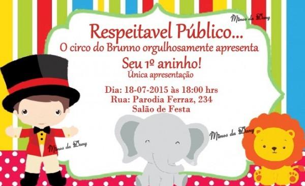Convite Circo No Elo7