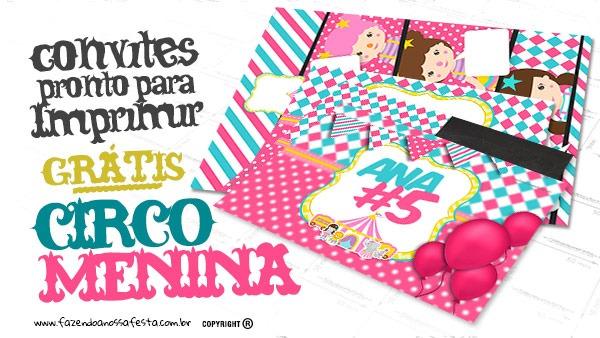 Convite Circo Menina Grátis Para Personalizar E Imprimir