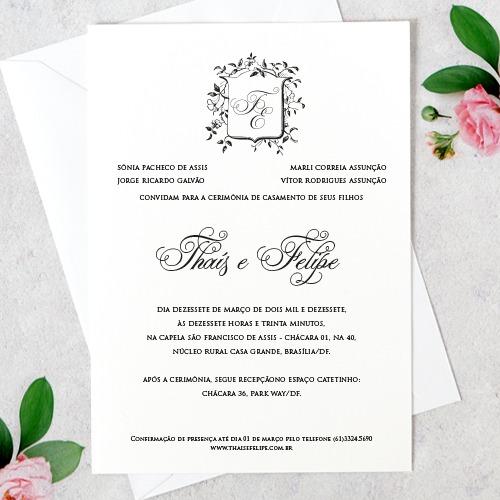 Arte Convite Casamento – Clássico Vintage Digital – Tem Amor No Papel