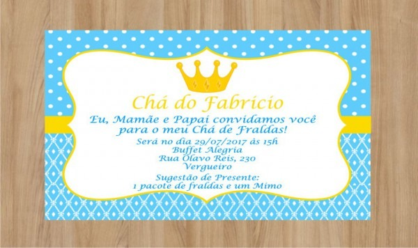 Convite Coroa Chá De Fralda Frete Grátis No Elo7