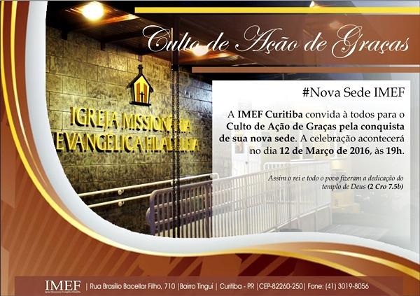 """Convite – """"culto De Ação De Graças"""" Pelo Novo Templo Imef"""