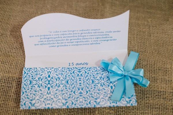 Convite De 15 Anos Azul Tiffany E Branco Perolado Com Laço