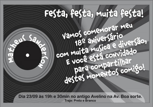 Convite De Aniversario Masculino 18 Anos 2 » Happy Birthday World