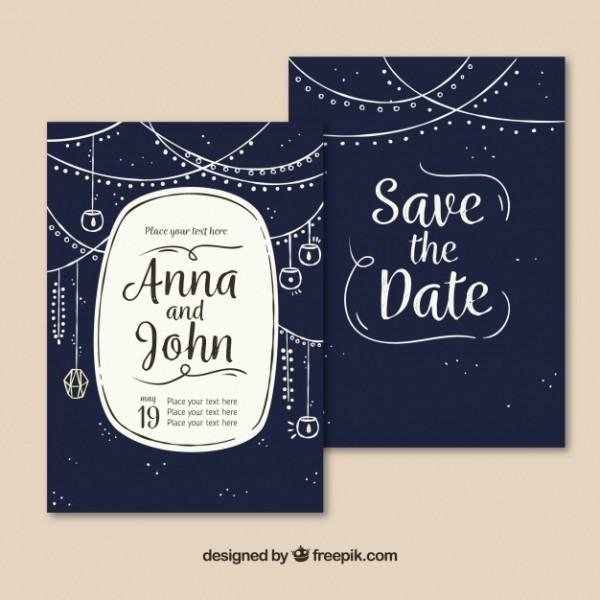 Convite De Casamento Azul Escuro Com Decoração Desenhada à Mão