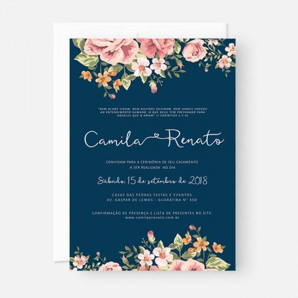 Convite Casamento Azul Floral (virtual + Arte Para Imprimir) No