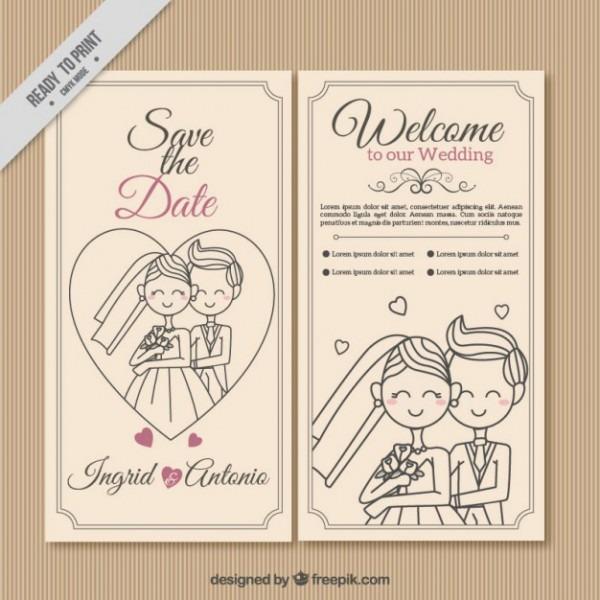 Convite De Casamento Casal Desenhada Mão
