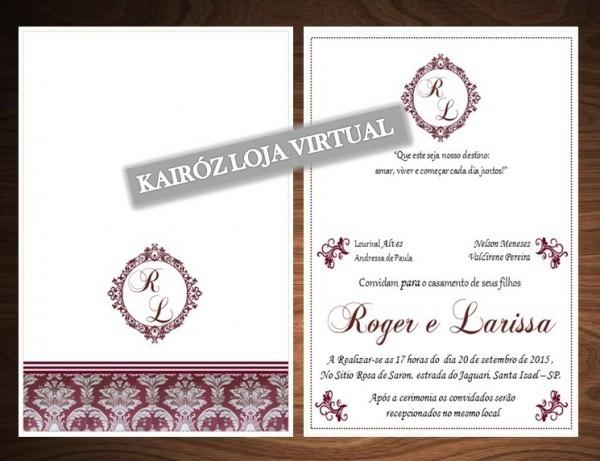 Convite De Casamento Dobrável