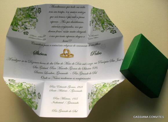 Convite De Casamento Floral Verde No Elo7