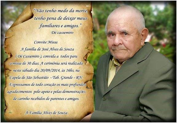 Convite De Missa De 30 Dias – Modelos De Convite