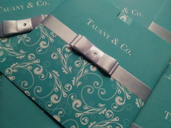 Convite Para Debutante Azul Tiffany Com Arabescos Dconvite