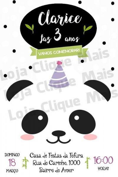 Convite Digital Aniversário Festa Tema Panda Menina Modelo 3