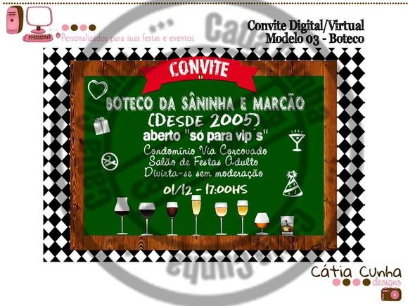Convite Digital Boteco 10x15cm 003 No Elo7