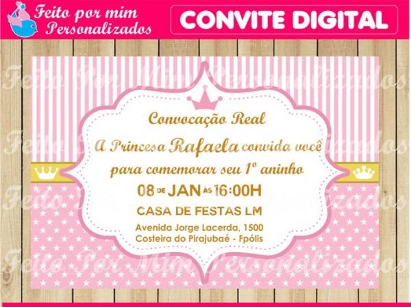 Convite Digital Coroa Menina No Elo7