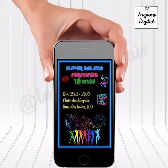 Convite Digital Festa Neon 18 Anos