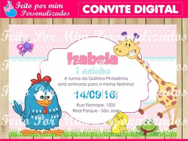 Convite Digital Galinha Pintadinha Rosa No Elo7