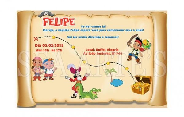 Convite Digital Jake E Os Piratas Mapa P  Impr  Ou Whatsapp