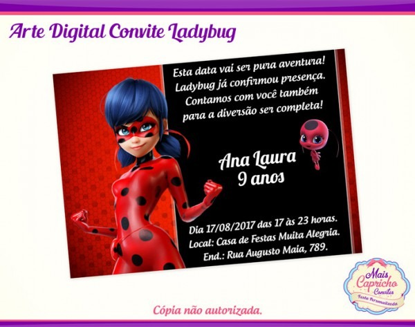 Convite Digital Ladybug Miraculous No Elo7