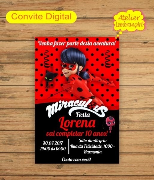 Convite Digital Ladybug Mod1
