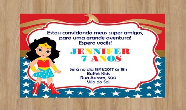 Convite Digital Mulher Maravilha No Elo7