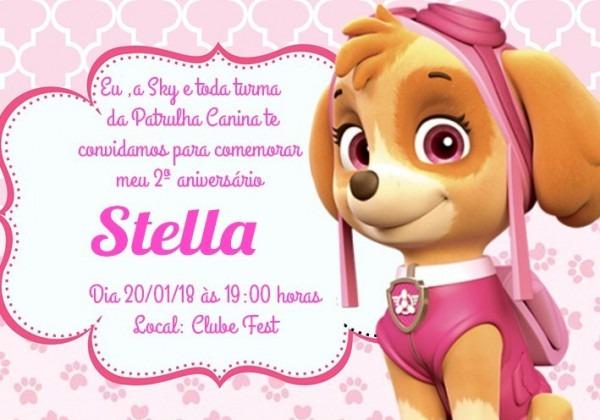Convite Digital Patrulha Canina Skye
